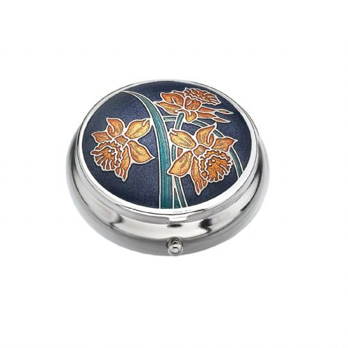 Pill Box Silver Plated Daffodil Design Purple Brand New and Boxed